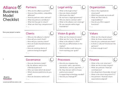 Harvard Mba Application Checklist by Alliance Business Model Checklist Template By Board Of