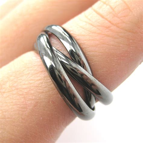 three connected rings linked into one ring in gunmetal