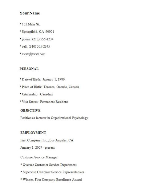 simple resume outline simple resume template 46 free sles exles