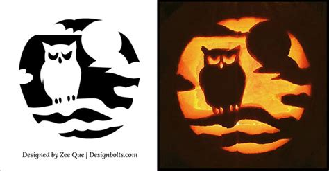 easy and cute owl pumpkin carving templates ideas 2017