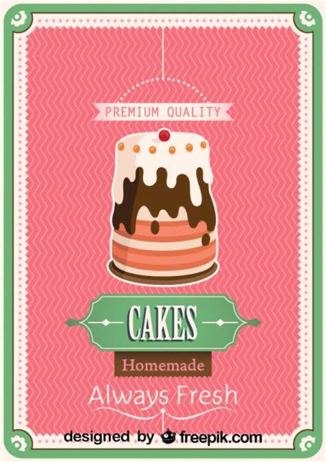 Handmade Poster Design - retro cake poster design vector free