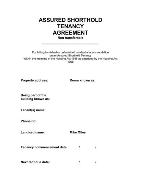 Assured Shorthold Tenancy Agreement Uk Template Free