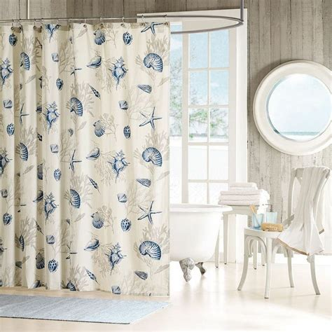 beach shower curtain seashells shower curtain beach theme cotton seashells