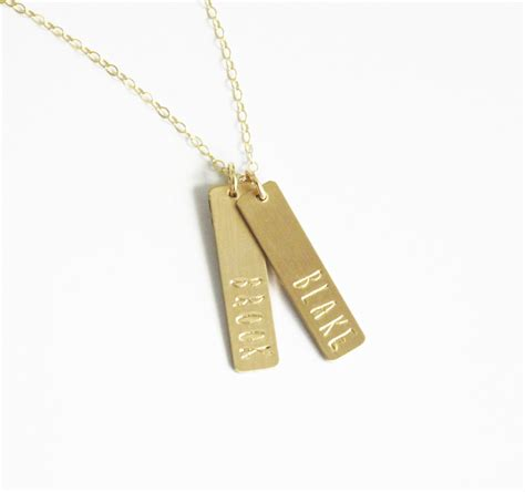 custom name necklace gold bar necklace personalized jewelry