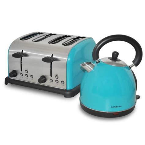 Retro Turquoise Toaster Turquoise Cordless Kettle 1 8l Jug Four 4 Slice Toaster
