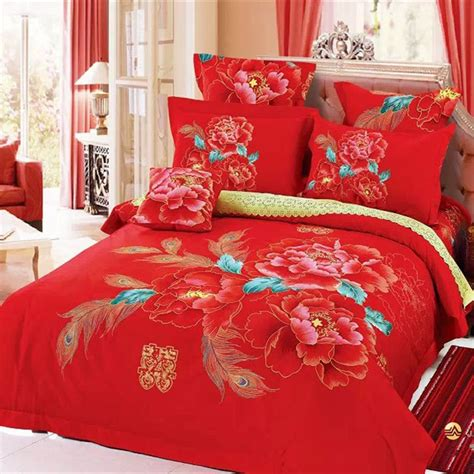 red quilt bedding chinese style wedding red bedding set peony and peacock