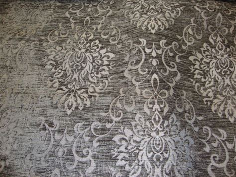 charcoal black reversible chenille damask pattern