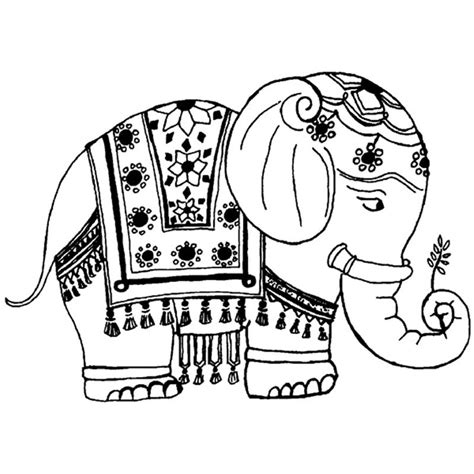 mehndi elephant coloring page indian elephant drawing cliparts co