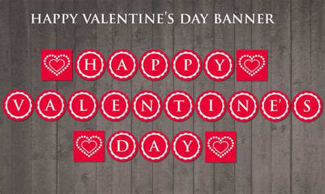 happy valentines day printable printable happy s day banner diy