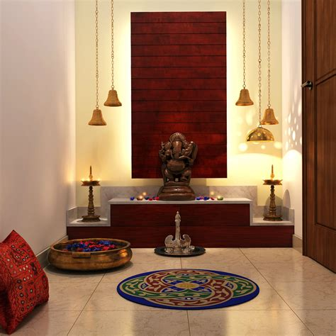 interior decoration puja room chic lighting colorful add ons complete this pooja room