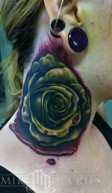 blood rose tattoo blood by mike devries tattoos