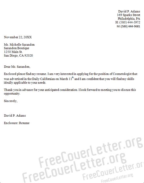 Cover Letter For Cosmetology esthetician cover letter new calendar template site
