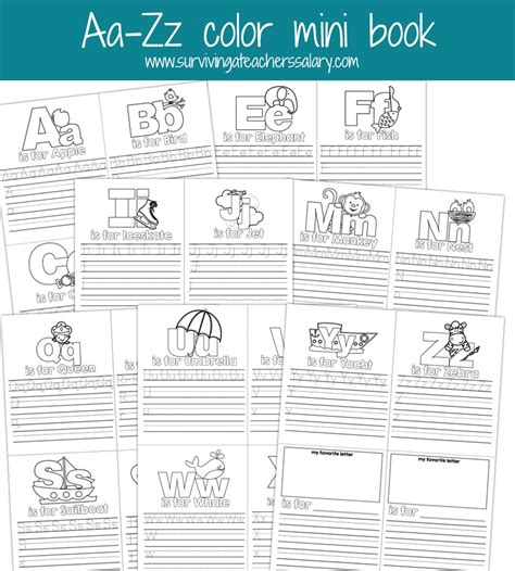 book printouts aa zz alphabet letter mini color book practice printable