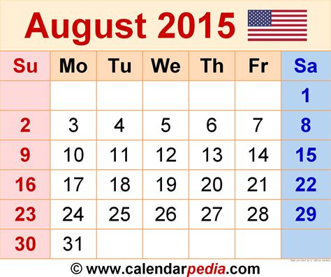 August Calendar 2015 August 2015 Calendars For Word Excel Pdf