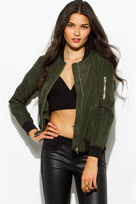 Jaket Bomber Crop Army shop army olive green zip up banded cropped bomber jacket top