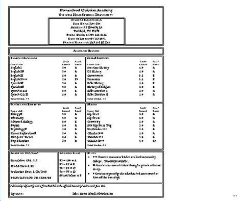academic transcript template excellent homeschool transcript template photos exle