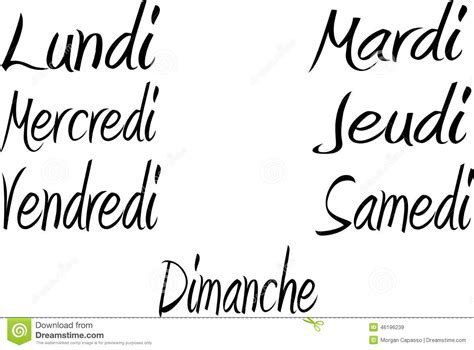 Days Of The Week In French Stock Vector Illustration Of