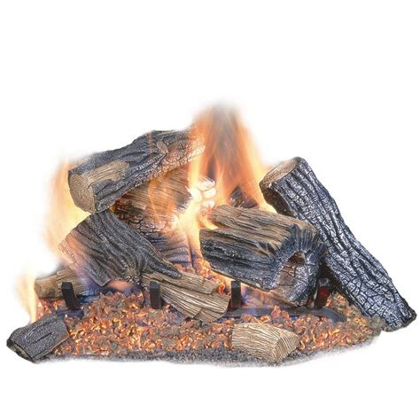 Home Depot Fireplace Logs by Emberglow Burnt River Oak 24 In Vented Dual Burner