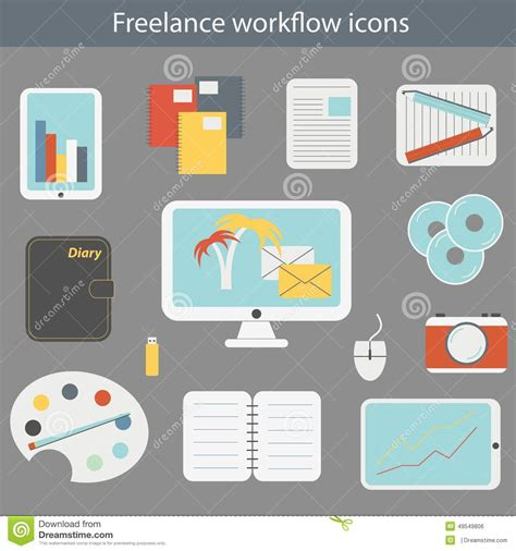 icon design workflow vector illustration with freelance workflow icons stock