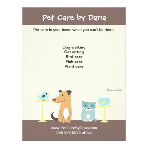pet sitter s promotional flyer zazzle