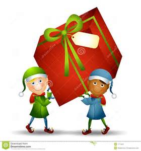 Gift Wrapping Styles - elves carrying christmas gift royalty free stock image image 7171816