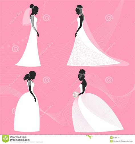 Set Of Bride Silhouette For Use In Design For Wedding Card
