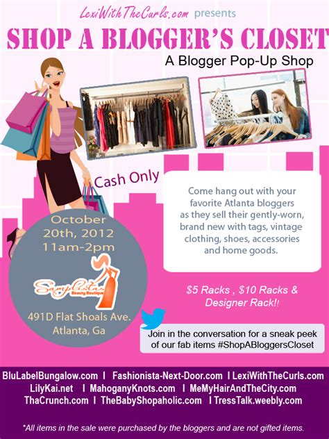 Shop A Blogger S Closet Atlanta Oct 20th Join Us Lexiwiththecurls Free Clothing Store Flyer Templates