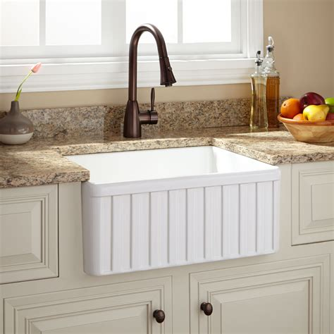Fireclay Kitchen Sinks by 24 Quot Oldham Fireclay Farmhouse Sink Fluted Apron White