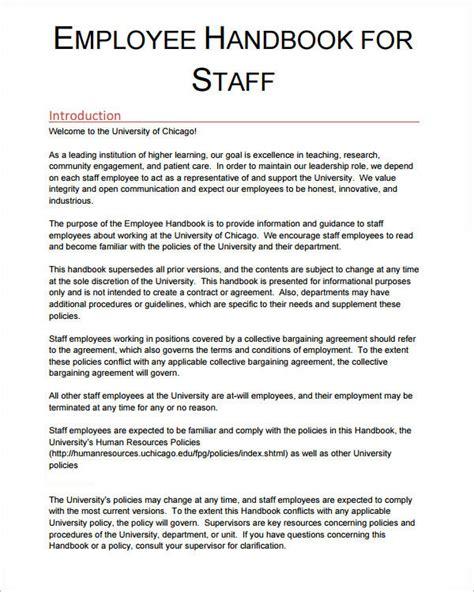 Business Letter Handbook employee handbook sle template business