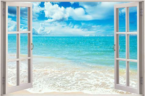 Tropical Beach Wall Murals 3d window view exotic ocean beach wall sticker film decal