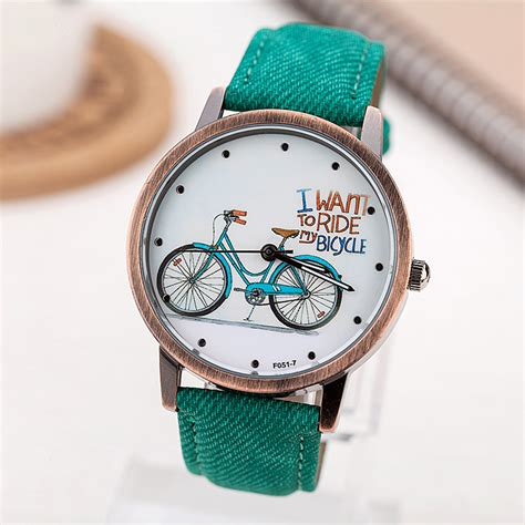 Jam Tangan Fashion Casual S Analog Quartz Wristwatch Waterpro 2017 fashion brand quartz watches bicycle pattern casual vintage leather