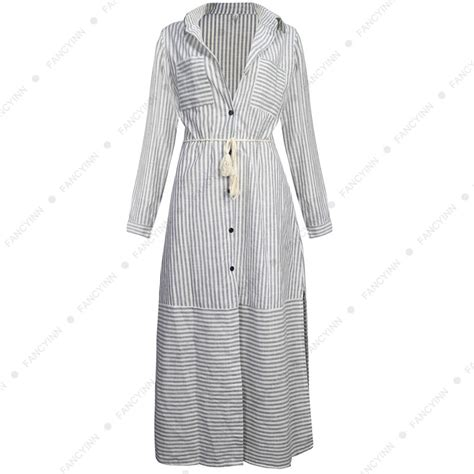 Best Quality Talullah Color Maxi Shirt Dress Belt Not Included All s sleeve side slit button striped maxi