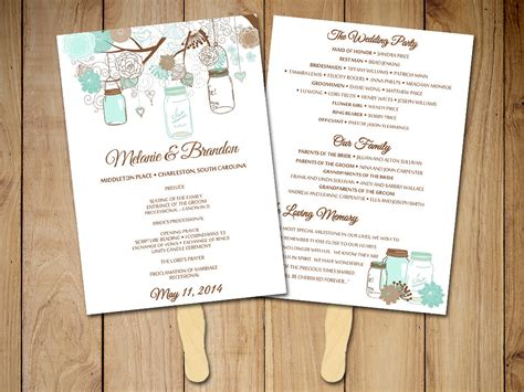 wedding program paddle fan template free request a custom order and something made just for you