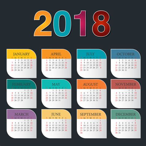 Calendar 2018 Template Design Colorful Calendar 2018 Template Vector Design 02 Vector