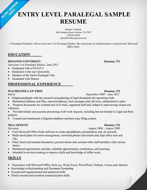 Entry Level Paralegal Resume Sles entry level paralegal resume sle resumecompanion