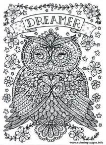 Adult owl dreamer coloring pages free printable