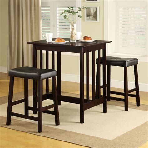 Small Kitchen Pub Table Sets Wood Dining Set 3 Table Chairs Kitchen Nook Condo Espresso Bar Stool Pub Ebay