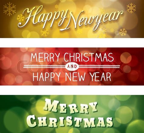 Banner Rumbai Hologram Merry Happy New Year merry and happy new year vector bokeh background banner stock vector colourbox