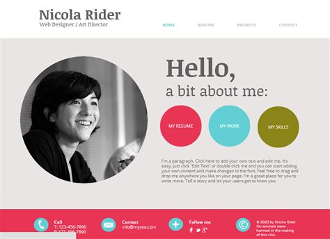 layout for biography resume bio focus freelancer independant contractor