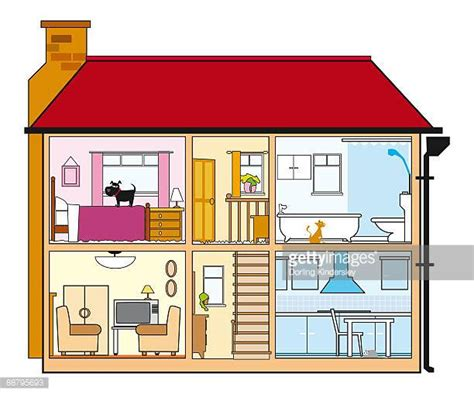 cross section of a house landing home interior stock illustrations and cartoons