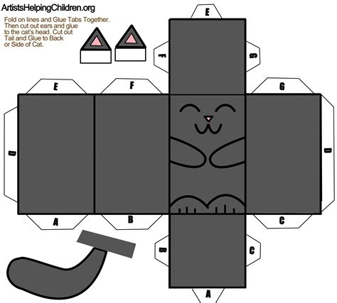 Folding Paper Templates - black cat foldable paper craft for