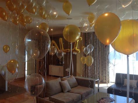 hotel room full  balloons  st birthday party