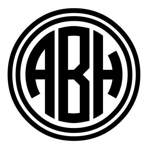 Circle Monogram Decal with Double Outline