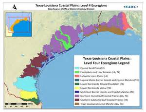 Texas Louisiana Map by Texas Coast Map Texas Louisiana Coastal Plains Level 4