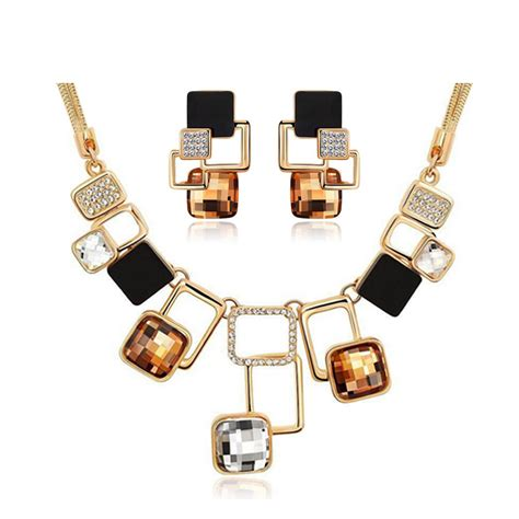 Fashion Accesories Set trendy jewelry sets new fashion gold color filled rhinestone acrylic geometric necklace