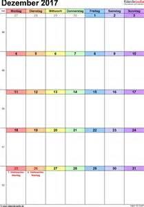 Kalender 2018 Dezember Kalender Dezember 2017 Als Excel Vorlagen