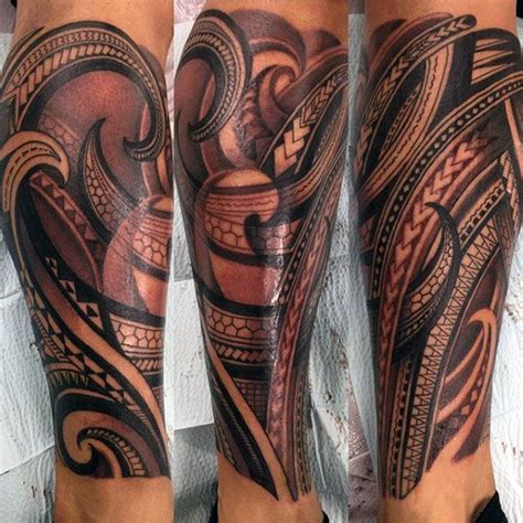 tribal tattoos calf muscle patter mens polynesian tribal leg sleeve ideas
