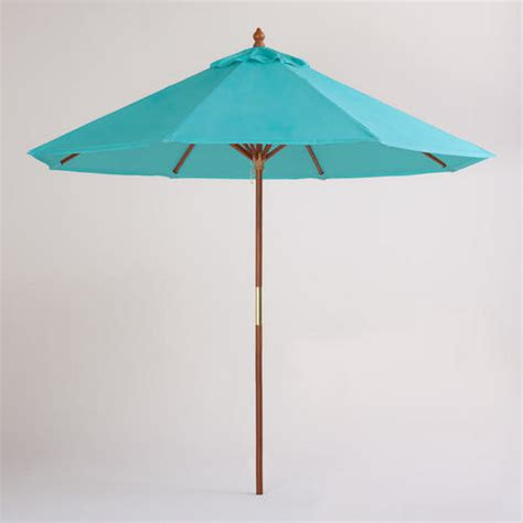Turquoise Patio Umbrella 9 Foot Blue Turquoise Umbrella Contemporary Outdoor Umbrellas By Cost Plus World Market