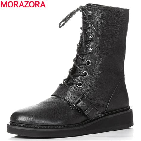 Sneaker Wedges Ankle Autunum Black moraozra fashion lace up boots genuine leather wedges black autumn brand ankle