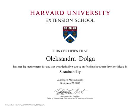 Does Harvard Mba Program by Harvard Extension School Sustainability Certificate